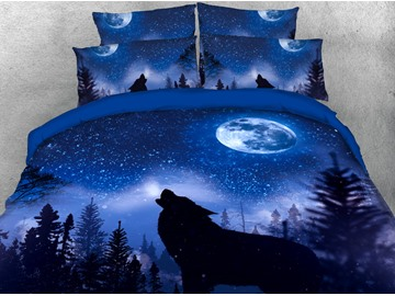 The Wolf Howling In The Dark Blue Night Sky 3D Printed 4-Piece Polyester Bedding Sets/Duvet Covers