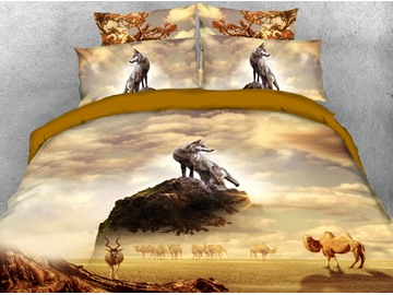 Camels In The Desert And The Wolf At The Top Of The Mountain 3D Printed 4-Piece Polyester Bedding Sets/Duvet Covers