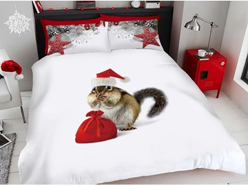 A Surprised Squirrel Received A Christmas Present 3D Printed 4-Piece Polyester Bedding Sets/Duvet Covers