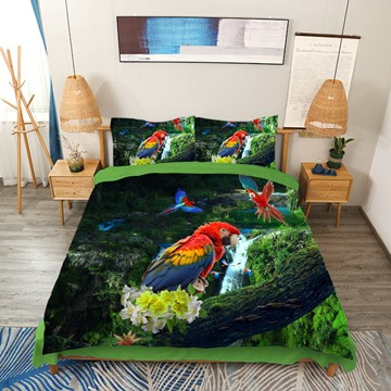 Parrots Frolicking In The Valleys 3D Printed 4-Piece Bedding Set Polyester Forest Green Duvet Cover