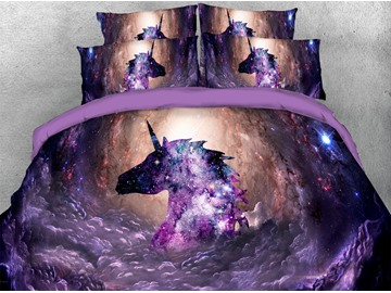 Mysterious Purple Unicorn in Galaxy 3D Printed 4-Piece Polyester Bedding Sets/Duvet Covers