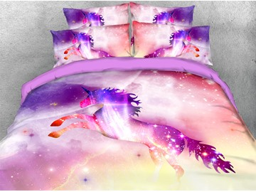 Pink Unicorn in Galaxy 3D Printed 4-Piece Polyester Bedding Sets/Duvet Covers