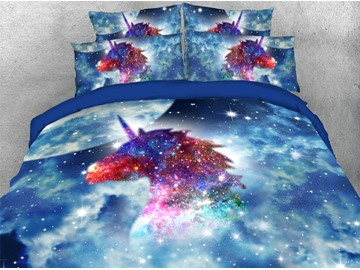 Colorful Unicorn in Blue Galaxy 3D Printed 4-Piece Polyester Bedding Sets/Duvet Covers