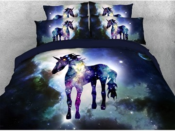 Unicorn Standing in The Galaxy 3D Printed 4-Piece Polyester Bedding Sets/Duvet Covers