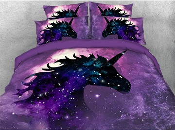 Purple Unicorn in The Galaxy 3D Printed 4-Piece Polyester Bedding Sets/Duvet Covers