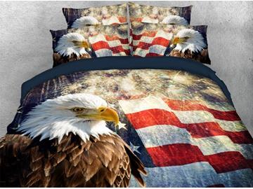 Colorful American Flag Bedding Sets Bald Eagle 3D Printed 4-Piece Duvet Cover Sets Flag Theme Patriot Quilt Cover