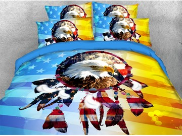 Flag Theme Patriot Colorful American Flag Bedding Sets Bald Eagle 3D Printed 4-Piece Duvet Cover Sets