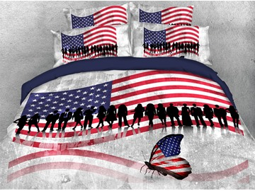 American National Flag Pattern Butterfly Printed Soft Lightweight 3D United States Duvet Cover Set 4-Piece Bedding Set