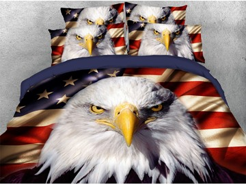 American National Flag with Eagle and USA Print Polyester 3D United States Duvet Cover Set/ Bedding Sets 4 Pieces