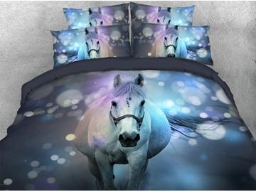 White Horse 3D Animal Duvet Cover Set 4-Piece Soft Bedding Set