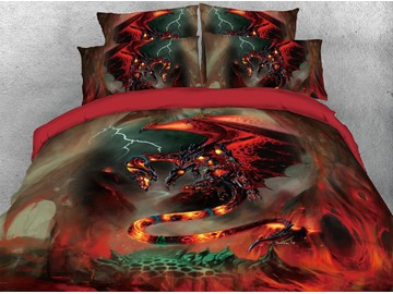 Fighting Fire Dragon Warm Duvet Cover Set 4-Piece 3D Animal Bedding Set