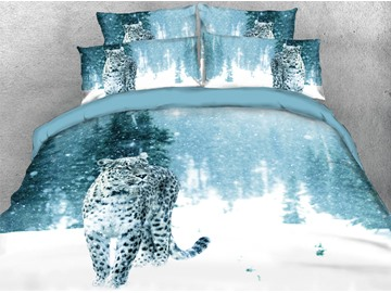 Leopard in the Snow Soft Duvet Cover Set 4-Piece 3D Animal Bedding Set