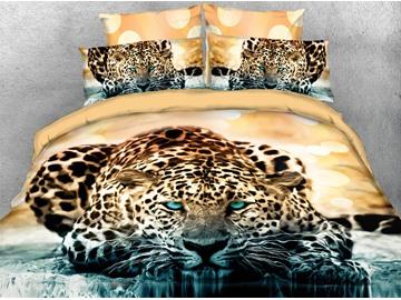 Golden Leopard Soft 3D Animal Bedding Set 4PCS Duvet Cover with Zipper Closure