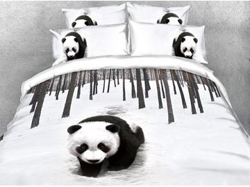 3D Panda 4Pcs Digital Print Quilt Cover Soft Duvet Cover Set with Zipper Ties
