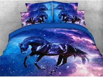 Galaxy Dark Horse Duvet Cover Set Four-Piece Set Polyester Bedding Sets Endurable Skin-friendly