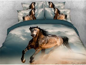 4 Piece Duvet Cover Set Running Horse Ultra Soft Comforter Cover with Zipper Closure and Corner Ties 2 Pillowcases 1 Flat Sheet 1 Duvet Cover