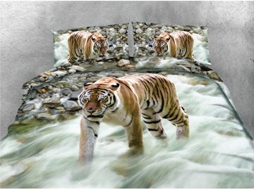 4 Piece Duvet Cover Set Tiger Pattern Series Ultra Soft Comforter Cover with Zipper Closure and Corner Ties 2 Pillowcases 1 Flat Sheet 1 Duvet Cover High-Quality Microfiber Polyester