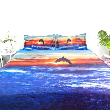4 Piece 3D Duvet Cover Set Dolphin and Beautiful Sunset Ultra Soft Comforter Cover with Zipper Closure and Corner Ties 2 Pillowcases 1 Flat Sheet 1 Duvet Cover High-Quality Microfiber Polyester