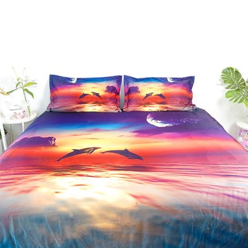 Creative 4 Piece Duvet Cover Set Jumping Dolphin Beautiful Sunset Ultra Soft Comforter Cover with Zipper Closure and Corner Ties 2 Pillowcases 1 Flat Sheet 1 Duvet Cover High-Quality Microfiber Polyester