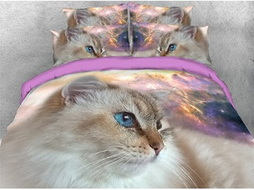 Creative 4 Piece Duvet Cover Set 3D Cat Galaxy Background Bedding Ultra Soft Comforter Cover with Zipper Closure and Corner Ties 2 Pillowcases 1 Flat Sheet 1 Duvet Cover High-Quality Microfiber Polyester