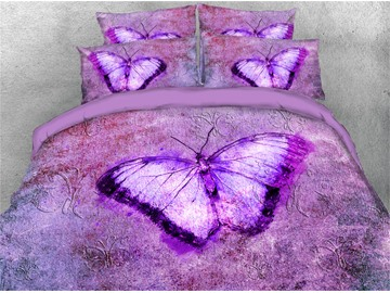 Creative 4 Piece Duvet Cover Set  3D Purple Butterfly Bedding Ultra Soft Comforter Cover with Zipper Closure and Corner Ties 2 Pillowcases 1 Flat Sheet 1 Duvet Cover High-Quality Microfiber Polyester