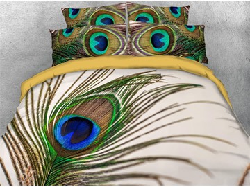 4-Piece 3D Animal Print Peacock Duvet Cover Set Ultra Soft Comforter Cover with Zipper Closure and Corner Ties 2 Pillowcases 1 Flat Sheet 1 Duvet Cover High-Quality Microfiber Polyester