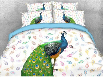 3D Peacock Flower Bedding Elegant 4-Piece Duvet Cover Set Ultra Soft Polyester Comforter Cover with Zipper Closure and Corner Ties 2 Pillowcases 1 Flat Sheet 1 Duvet Cover