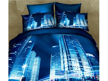 High Buildings and Large Mansions Modern City 3D Print Blue 4 Piece Bedding Sets
