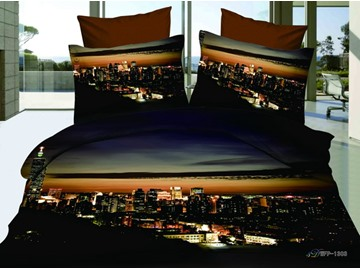 Hot Sell Amazing Modern City Night 4 Pieces Bedding Sets