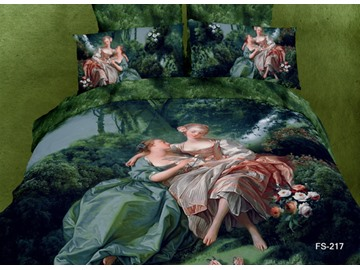 Antique Famous Painting Reactive Print 4 Piece Bedding Sets/Duvet Cover Sets
