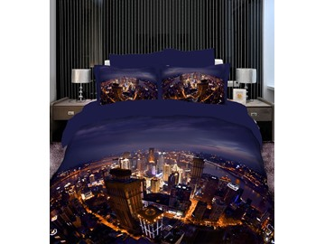 Fashion Modern City Night Scene Print 4 Piece Bedding Sets