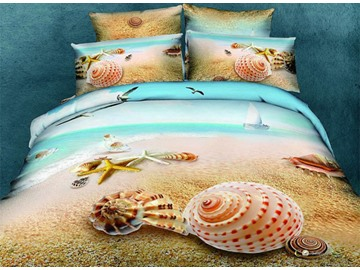Starfish and Shell 3D Printed Mediterranean Style Cotton 4-Piece Bedding Sets