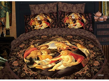 Elegant Famous Painting Print 4 Piece Bedding Sets/Duvet Cover Sets