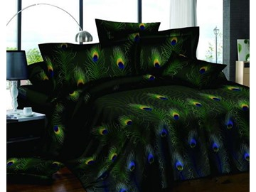 Pastoral Green 4-Piece Peacock Feathers Printed 4-Piece Cotton Bedding Sets/Duvet Covers