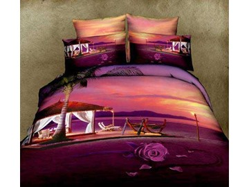 Romantic Rose and Beach Huts Print Purple 4 Piece Bedding Sets