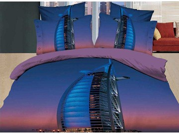 Beautiful Burj Al Arab Hotel Print 4 Piece Dark Blue Bedding Sets