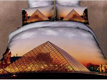 New Arrival Beautiful Pyramid at Dusk Print 4 Piece Bedding Sets
