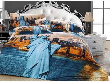 Statue of Liberty and CIty Print 3D Bedding Sets