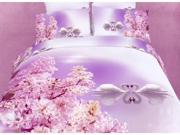 White Swan Couples on the Lake Print 3D Bedding Sets