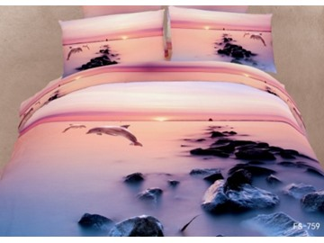 Sunset Dolphin and Reef Print 3D Bedding Sets