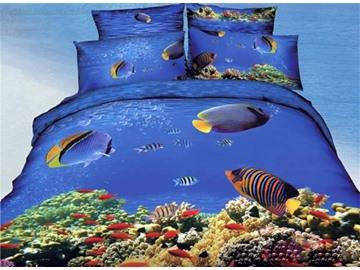 Underwater World Fish and Coral Tree Print Duvet Cover Sets