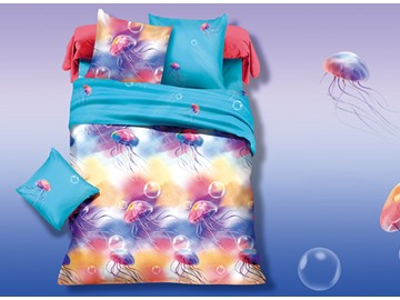 Colorful Jellyfish Flying in Water Print 3D Duvet Cover Sets