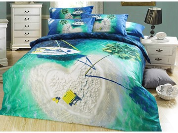 Heart Shaped Isle and Dark Green Sea Print 3D Bedding Sets