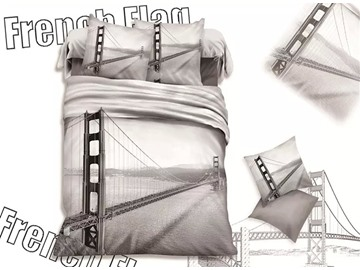Modern Cable-Stayed Bridge Print Cotton 4-Piece Duvet Cover Sets