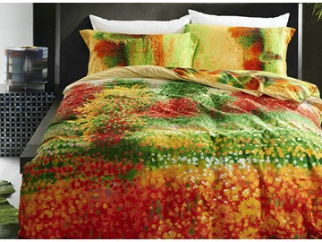 Classy Colorful 4-Piece Cotton Duvet Cover Sets