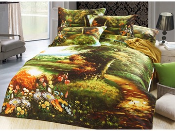 Natural Scenery Oil Painting Design 4-Piece Duvet Cover Sets