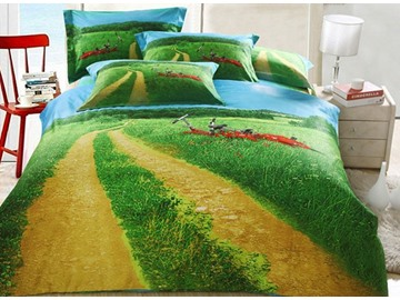 Splendid Lawn and Bicycle Print 4-Piece Cotton Duvet Cover Sets