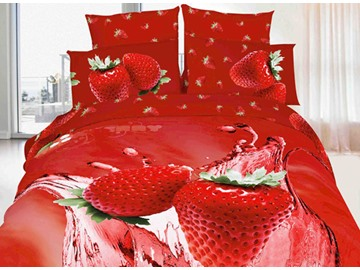 Tempting Strawberry Print 4-Piece Cotton Duvet Cover Sets
