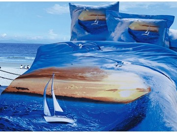 Sailing in the Sea Print 4-Piece Cotton Duvet Cover Sets