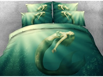 3D Mermaid in the Sea Printed Cotton 4-Piece Bedding Sets/Duvet Covers